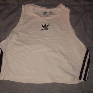 Adidas crop top white and black 3 stripes size L